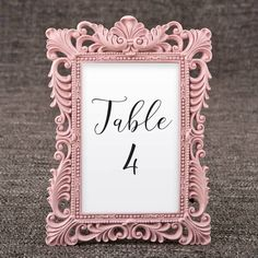 Pink Picture Frames for Table Numbers - 4 x 6 Size