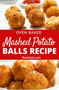 This Mashed Potato Balls Recipe is oven baked and highly addictive. They are easy, cheesy and super tasty. Watch the quick video now. Mashed Potato Balls Recipe, Fried Mashed Potatoes, Mashed Potato Pancakes, Homemade Mashed Potatoes, Mashed Potato Recipes, Baked Potato Oven, Oven Baked, Potato Bites, Potato Side Dishes
