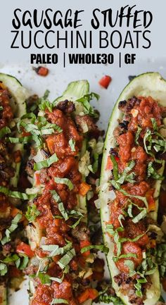 Tired of the same old paleo or low carb dinner recipes? Then you'll love these whole30 Italian sausage zucchini boats. Stuffed with italian sausage and smothered with a super fast marinara sauce, these guys are healthy, easy, and crazy delicious. #paleo #whole30 #glutenfree #weeknight #zucchini #lowcarb