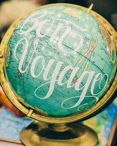 Photo by Breanne Johnson of Globe by Shannon Bundschuh - Globe Art, Map Globe, Bon Voyage Party, Leaving Party, Going Away Parties, Farewell Parties, Grad Parties, Mom Birthday, Next Week
