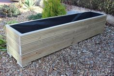 LARGE WOODEN GARDEN PLANTER TROUGH IN DECKING BOARDS PLANT POTS MADE FROM WOOD | eBay