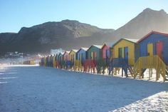 Colourful huts at Muizies beach. The beach is a great spot for surfing plus you can walk along the coast to St James Beach further south which has more colourful huts! James Beach, Saint James, Chameleon, Cape Town, San Francisco Skyline, Surfing, Coast, Good Things, World