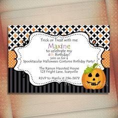 SALE Pumpkin Halloween Birthday Invitation, Fall Birthday Invite, Jack O' Lantern Birthday Invite, Pumpkin Shower Invite-DIY on Etsy, $13.00