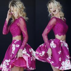 Beautiful #cropped pink lace top with a taffeta #floral printed skirt. LOVE the detail like the pink #tulle underneath which adds a little pop of volume and a lot of fun! Style 32323 #FallFlorals #Homecoming2015
