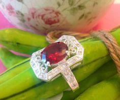 garnet gemstone silver rhodium plated  ring size by Rossanascorner, $24.99
