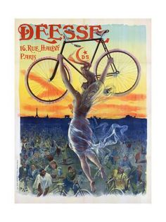 Vintage French Poster of a Goddess with a Bicycle, C.1898 Giclee Print by Pal at Art.com