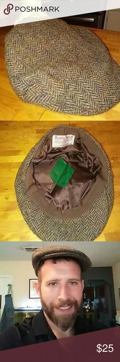 Vintage Harris Tweed Wool Driver's Cap Get your finest Herringbone Hat on and go for a drive! This vintage Harris Tweed cap in Herringbone pattern is a throwback to simpler times and colder climes! Harris Tweed Accessories Hats