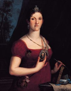 Carlota Joaquina of Spain, sister of Fernando VII and pretender to rule the Americas during the Peninsular War. The medalion sports a portrait of her husband, King Juan VI of Portugal.