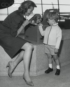 Lauren Bacall with son and puppy
