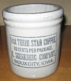 Red Wing Stoneware Three Star Coffee Advertising Crock Sioux City Iowa