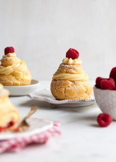 cream puffs with cranberry-raspberry compote + real vanilla bean pastry cream | recipe: http://stylesweetca.com/2015/12/09/christmas-cream-puffs-with-cran-berry-compote/