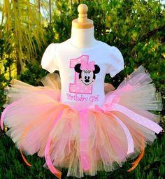 Girls Birthday Baby Minnie Mouse Number Tutu Set