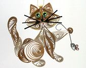 Quilled / Filigree Kitty Cat Hanging Ornament: Cappuccino Brown, Caribbean Green Colored Eyes with aTiny Gray Mouse Held in Paw