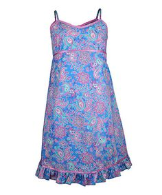 Blue Paisley Nightgown - Girls #zulily #zulilyfinds
