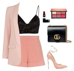 """Untitled #203"" by isamacario ❤ liked on Polyvore featuring Fleur du Mal, RED Valentino, Casadei, Gucci, Lipstick Queen and NARS Cosmetics"