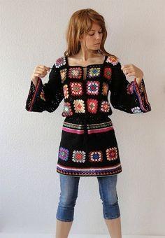 Платье-туника из бабушкиных квадратов