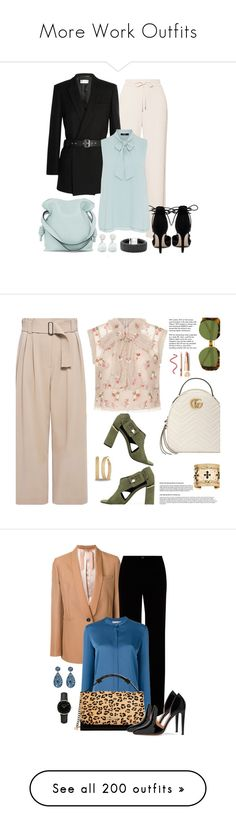 """More Work Outfits"" by amyfernandez010 ❤ liked on Polyvore featuring Theory, Verali, Yves Saint Laurent, Nadri, Loewe, Hallhuber, Lagos, M4D3, A.L.C. and Gucci"