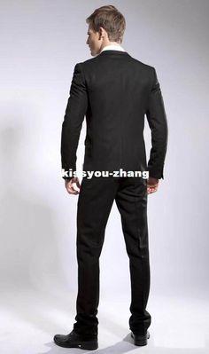 Custom Men's slim fit Suit Groom Tuxedos Men's Wedding Dress Prom Clothing Best man Suit(Jacket+Pants+Tie)2014 mens business suits Free Ship