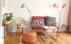 Be brave, mix your patterns! | Elin's living room, Sweden #cushions #rugs #textiles