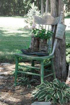 I think I need an old chair and old worn-out cowboy boots. I think I need an old chair and old worn-out cowboy boots. Rustic Gardens, Unique Gardens, Outdoor Gardens, Garden Junk, Garden Cottage, Garden Bar, Party Garden, Blue Garden, Garden Items