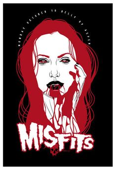 Misfits Poster by Scrojo Rock Posters, Band Posters, Concert Posters, Misfits Band, Nu Metal, Heavy Metal, Danzig Misfits, Satanic Art, Extreme Metal