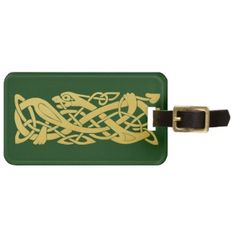 Celtic Golden Snake on Dark Green Baggage Tag featuring an ancient celtic motif of a coiled golden snake on a dark green background. Personalize with a name of your choice. The background color can be changed with the Customize It button.