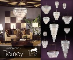 New from Savoy House, Tierney  creates a one-of-a-kind glamorous glow in any space with a look that combines Burnished Bronze or Satin Nickel frames and graduated columns of shining optic acrylic elements.