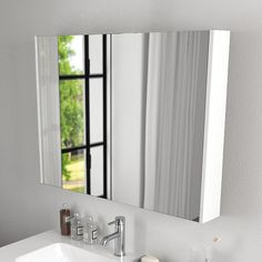 EandS | Kitchen, Bathroom & Laundry - Berloni Bagno Form 986mm wide Mirror Cabinet in Gloss White SNF04DXWH