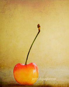 Minimalist Fine Art Photography - A still life kitchen print, brold red orange cherry fruit