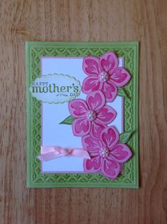 Stampin Up handmade happy mothers day card - pink flowers