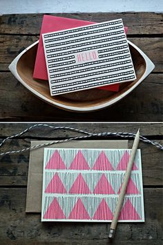 hello card & pink triangle