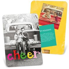 These holiday photo cards send a message of cheer in unexpected colors of pink, red, green and yellow overlaying your fabulous photo. #holidayphotocards #christmascards #peartreegreetings http://www.peartreegreetings.com/Holiday-Cards/Holiday-Photo-Cards/2775-33983VHPFC-Colorful-Cheer-Vertical--Holiday-Photo-Cards.pro