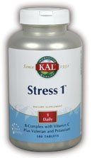Stress 1 - 100 - Tablet by Kal. $18.07. KAL - Stress 1 - 100ct Tab. Stress 1 by Kal 100 Tablet Stress 1 B-Complex with C dietary supplement. Plus Valerian Root and Potassium Provides nutritive support for normal healthy energy production red blood cell synthesis and proper nerve function Rapid-Solve Disintegration within 30 Min. (USPXXII) Size 100ct Directions As a dietary supplement take 1 tablet daily with a meal or glass of water. Serving Size 1 Tablet 100 Serv...