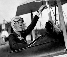 Amelia Earhart, first woman to fly solo across the Atlantic.  *She saw her first aircraft at the age of 10 while attending the Iowa State Fair in Des Moines, Iowa.