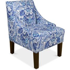 Glendale Swoop Arm Chair, Quick Ship ($253) ❤ liked on Polyvore featuring home, furniture, chairs, accent chairs, blue, fabric armchairs, upholstered arm chair, swoop armchair, blue accent chair and upholstered armchair