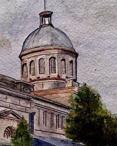 Zoomed in detail of Marché Bonsecours. Montreal. Watercolour 🎨