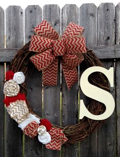 Chevron Monogram Red and White Burlap Wreath with by KMMGdesigns