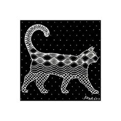 NOVICA Original Acrylic Feline Painting of Cat in Black and White (800 CNY) ❤ liked on Polyvore featuring home, home decor, wall art, cat, black and white, paintings, pop art, cat wall art, dot painting and acrylic painting