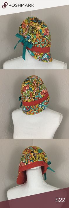 dba4ebb9ad2c72 Vera Bradley cap garden floral hat bow red green Excellent condition one  size Vera Bradley Accessories
