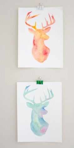 DIY : Easy, Colorful Painting with Stencil. DIY Deer head poster