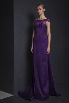 Tony Ward RTW Spring 2015 Style 49 Purple Organza Fil Coupé long dress with a train, embroidered bust and cap sleeves.