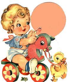 Beba Clip Art Vintage, Images Vintage, Vintage Pictures, Vintage Birthday Cards, Vintage Greeting Cards, Vintage Postcards, Etiquette Vintage, Retro Baby, Baby Kind