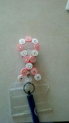 Med cap name badge holder pink and white breast cancer awareness ribbon