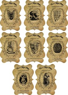Halloween steampunk apothecary bottle stickers set of 8 scrapbooking crafts #HandCrafted #Halloween