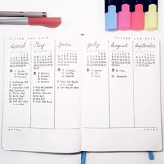 Original pinner: Did the future log in my leuchtturm notebook and also used some colour coding. The layout is inspired by ! Bullet Journal Hacks, Bullet Journal Layout, Bullet Journal Inspiration, Bullet Journals, Journal Español, Journal Ideas, Filofax, Bujo, Doodles