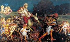 'The Triumph of the Innocents' 1876-87, by William Holman Hunt (1827-1910)  Mary & Joseph with Jesus accompanied on flight to Egypt with resurrected souls of slain infants of Bethlehem