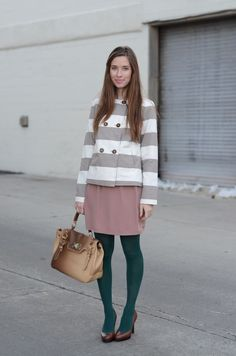 unexpected color combo--love the pink and green together for fall M Loves M: look book: a little less conversation Green Tights, Colored Tights, Teal And Grey, Dark Teal, Gray, A Little Less Conversation, Sweater Layering, Dressed To The Nines, Summer Wear