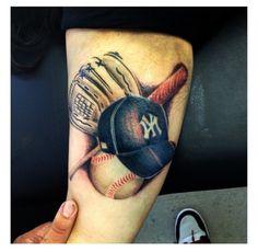 yankee tattoo Tattoo Skin, Body Art Tattoos, Sport Tattoos, Softball Tattoos, Music Tattoos, Name Tattoos, Skull Tattoos, Arm Tattoo, Grandpa Tattoo