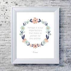 Emma, Jane Austen Print -  Literary Quote Typography Print - Blue, Pink - Whimsical Jane Austen Quote Print- Word Art Floral Print