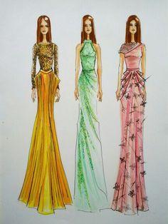 By Daniella Gallistl #drawing #fashion #illustration #woman #dress #art #copic #marker #micron #pencil #sketch